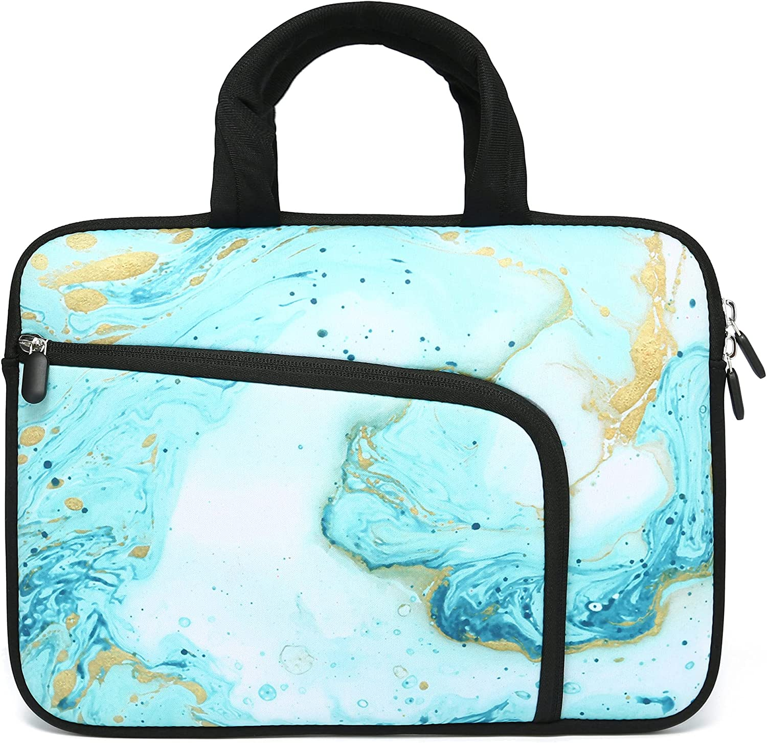 14 15 15.4 15.6 inch Laptop Handle Bag Computer Protect Case Holder Notebook Sleeve Neoprene Cover Soft Carrying Case with Extra Pockets for Dell Lenovo Toshiba HP Chromebook ASUS Acer(Vast Ocean)