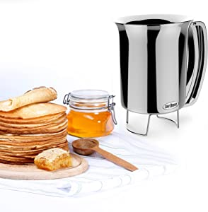 Pancake Batter Dispenser- Gourmet Stainless-Steel Pourer- Perfect for Baking Cupcakes, Waffles, Cakes, and Muffins- No Drip Dispenser by Chef Buddy