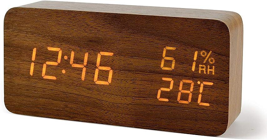 R/éveil Digital avec Controle du Son USB//Batterie AAA FIBISONIC Horloge Bois R/éveil Matin Alarm Clock Horloge LED R/éveil Digital avec Affichage Num/érique de Temp/érature//Humidit/é//Calendrier