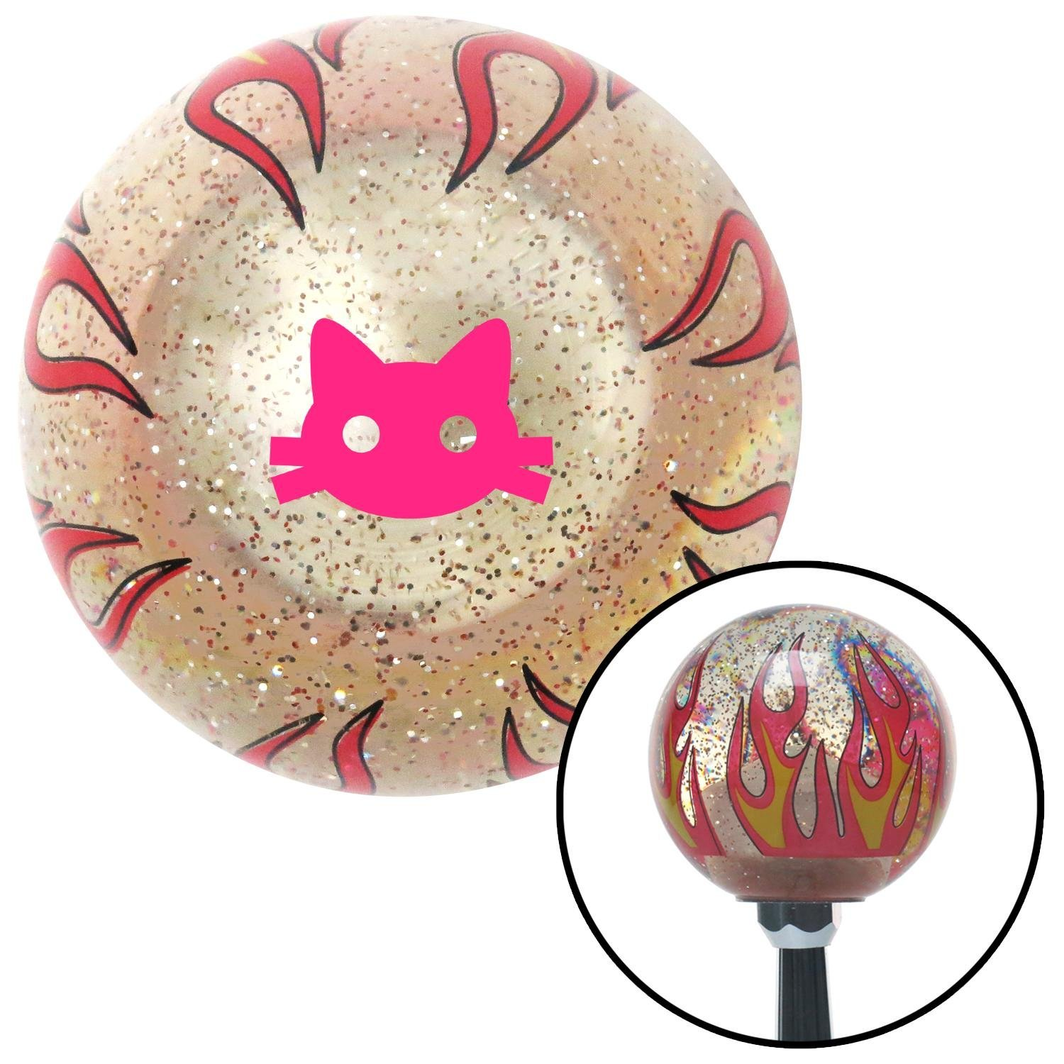 American Shifter 295174 Shift Knob Pink Cat Silhouette 2 Clear Flame Metal Flake with M16 x 1.5 Insert