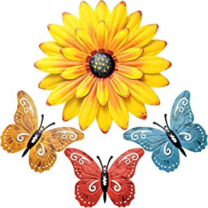 Metal Flowers Wall Decor and Butterfly Wall Art Decoration Hanging for Indoor Outdoor Bedroom, Bathroom, Living Room Home Decor Boho Art, Porch Patio Wall