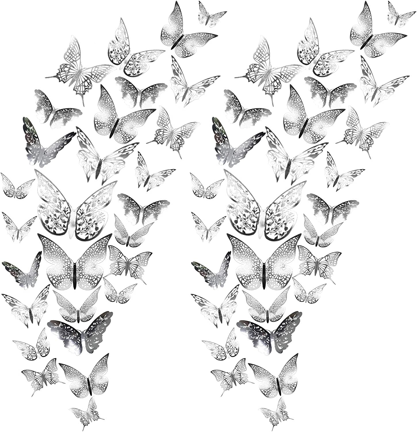 LASZOLA 72Pcs 3D Butterfly Wall Decor Sticker for Bedroom, 6 Style Removable Mural DIY Metallic Butterflies Wall Decals in 3 Size for Home Room Nursery Decoration (Silver)