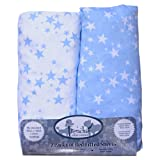 Cot Bed Fitted Sheets, (140 X 70 cm) White and Blue, Super Soft Woven Cotton, 200 TC, 2 Pack, Frenchie Mini Couture
