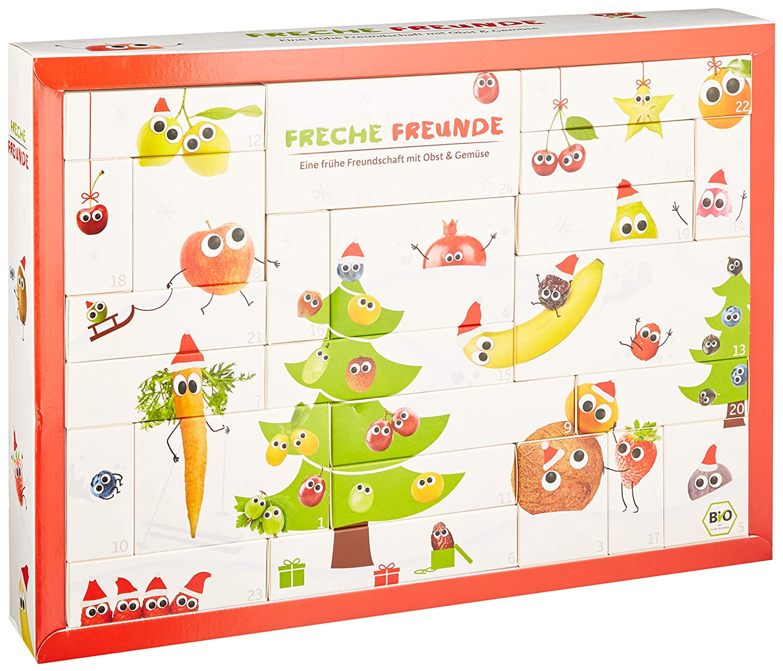 Freche Freunde Bio Adventskalender Für Kids Weihnachtskalender Gefüllt Mit 24 Kinder Snacks Spiele Mit Obst Gemüse Ohne Industriezucker Ideal Für Kleinkinder Ab 1 Jahr Vegan Amazon De Lebensmittel Getränke