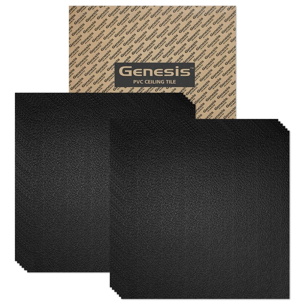 Genesis 2ft x 2ft Stucco Pro Black Ceiling Tiles - Easy Drop-in Installation - Waterproof, Washable and Fire-Rated - High-Grade PVC to Prevent Breakage - Package of 12 Tiles