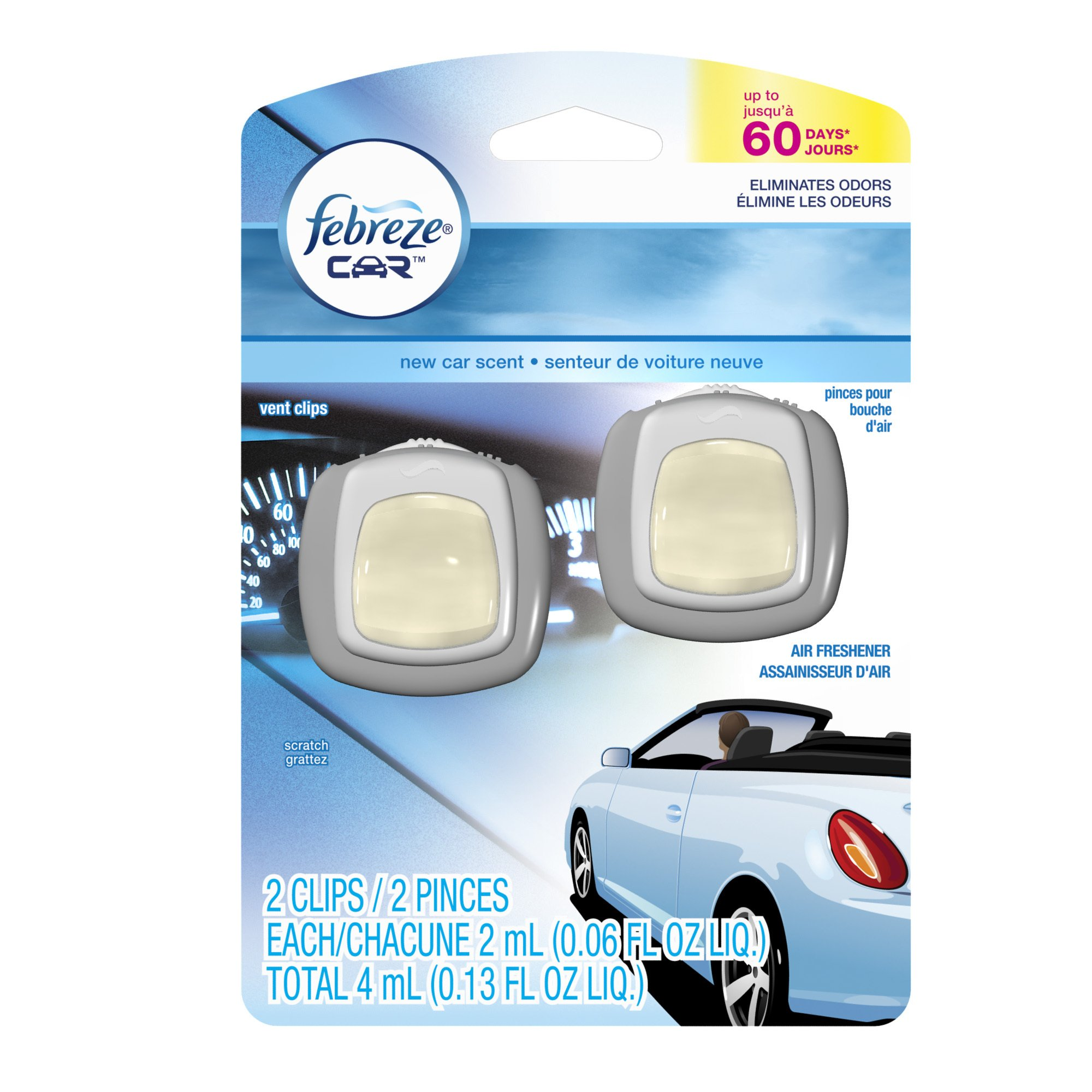 Febreze Air Freshener, Car Vent Clip Air Freshener, New Car Air Freshener, 2-Count (Pack of 8)