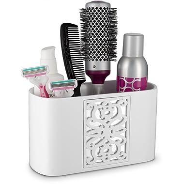 DWELLZA Mirror Janette Bathroom Counter Organizer- Vanity Organizers- Countertop Cosmetic Makeup Brushes Caddy Hair Accessories Storage- 3-Compartments Decorative Bath Organization (White)