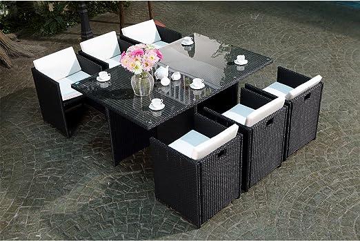 Concept-Usine Miami 6 Noir/Blanc : salon encastrable 6 personnes en résine  tressée noire poly rotin