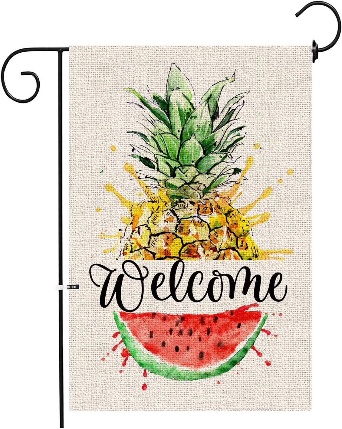 Hexagram Pineapple Welcome Summer Garden Flag,Yard Burlap Garden Flag Double Sided,Decorative Pineapple and Watermelon Ooutdoor Decor,Small Garden Flag 12x18 Prime