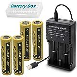 4本 18650 電池 3200mAh 高容量 3.7V フラットヘッド充電池 USB電池充電器 卓上 扇風機 携帯扇風機 交換電池