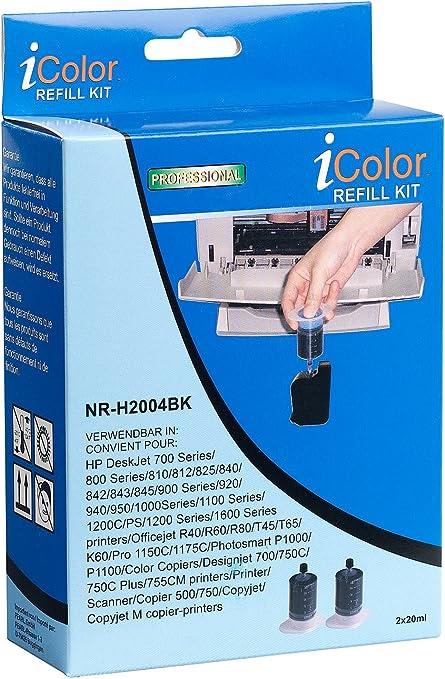 Icolor recarga: Refill de Starter Kit de Cartuchos para HP, Negro (2 x 20ml) (Refill Kits para cartuchos de tinta HP): Amazon.es: Oficina y papelería