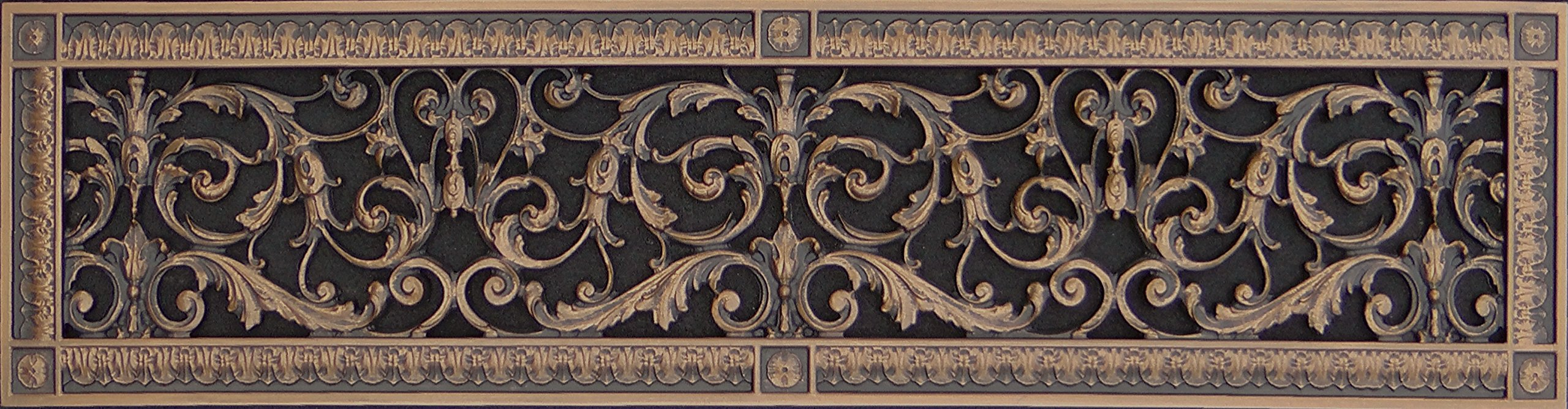 """Decorative Vent Cover, Grille, Return Register, made of Urethane Resin, in French style fits over a 6""""x 30"""" duct opening. Total size, 8"""" x 32"""", for walls & ceilings only(not floors) (Rubbed Bronze)"""