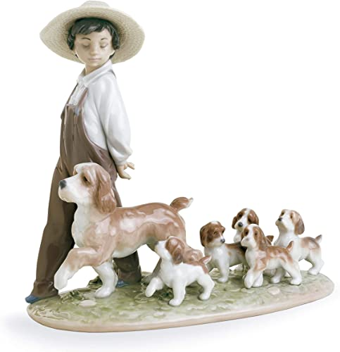 LLADR My Little Explorers Boy with Dogs Figurine. Porcelain Boy Figure.