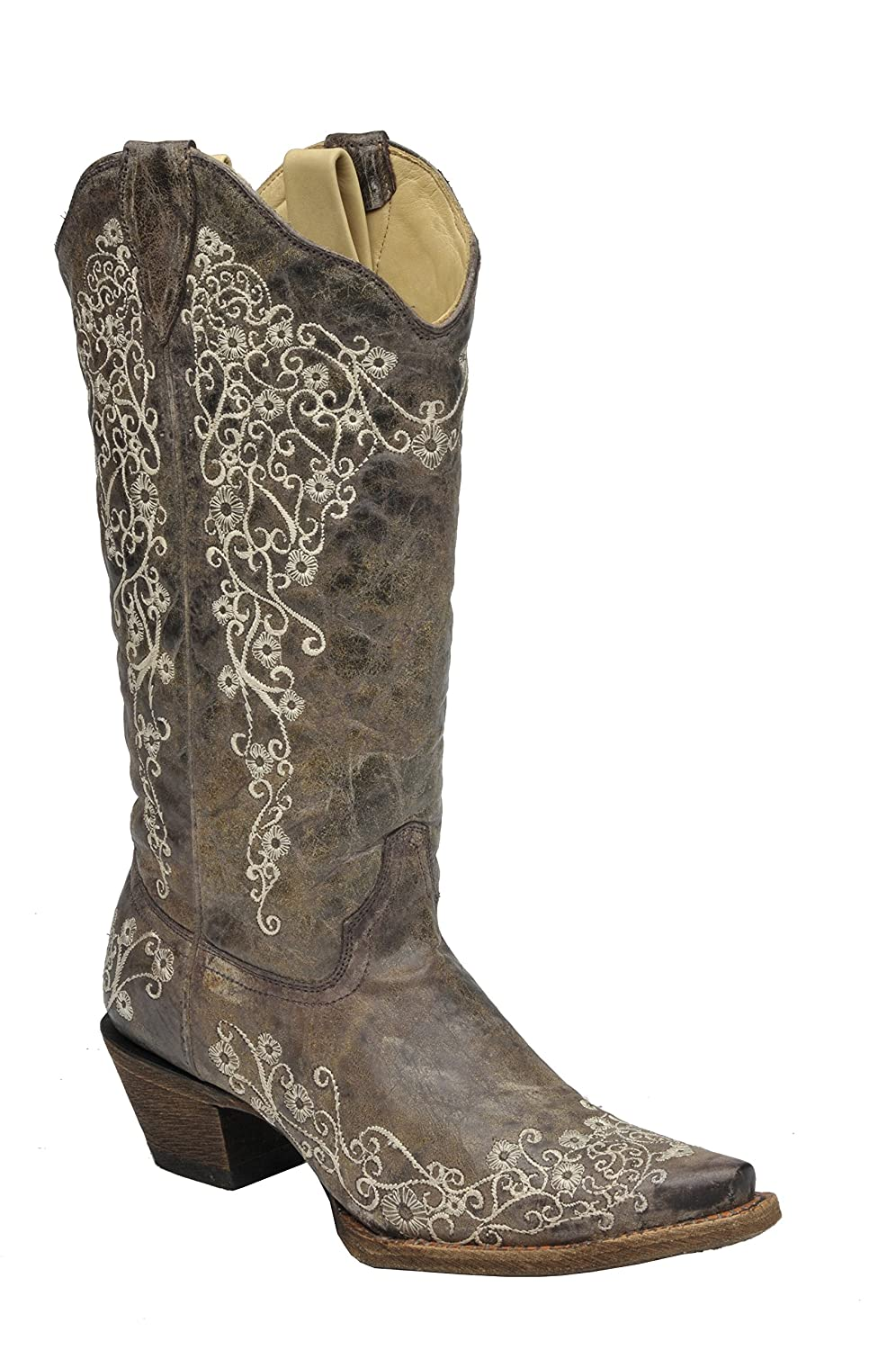 Corral Ladies Brown Crater Bone Embroidery Western Boot B007O28MYS 11 B(M) US|Brown