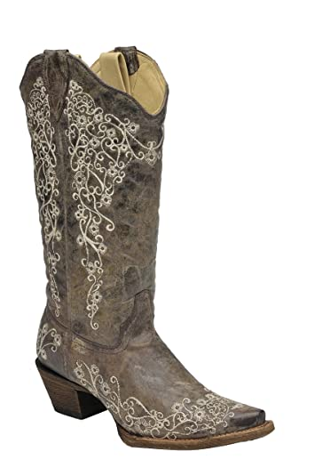 Corral Women's 14-inch Brown Crater Bone Embroidery Snip Toe Distressed Leather Boots - 6.5 W