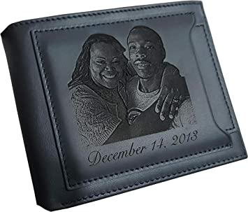 Personalized leather men custom wallet family,couple,wedding photo fathers day color,size
