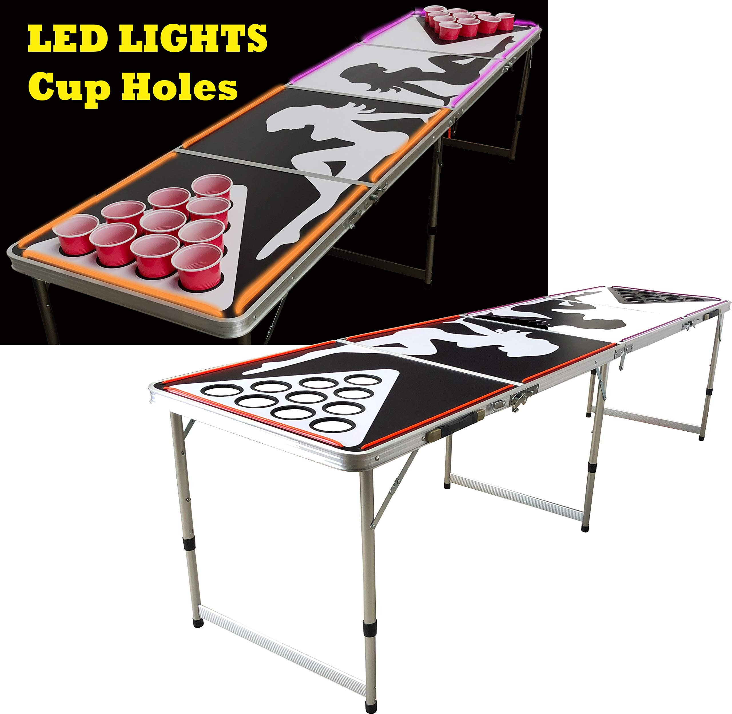 LED Lights Beer Pong Table with Holes for Cups 8' Aluminum Portable Adjustable Folding Indoor Outdoor Tailgate Drinking Party Game Squad Show Girl 01