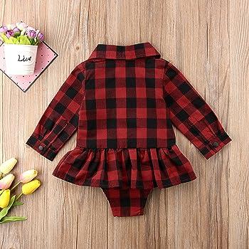 Toddler Baby Girls Red Plaids Long Sleeve Shirt Collar Ruffles Princess Dress Romper