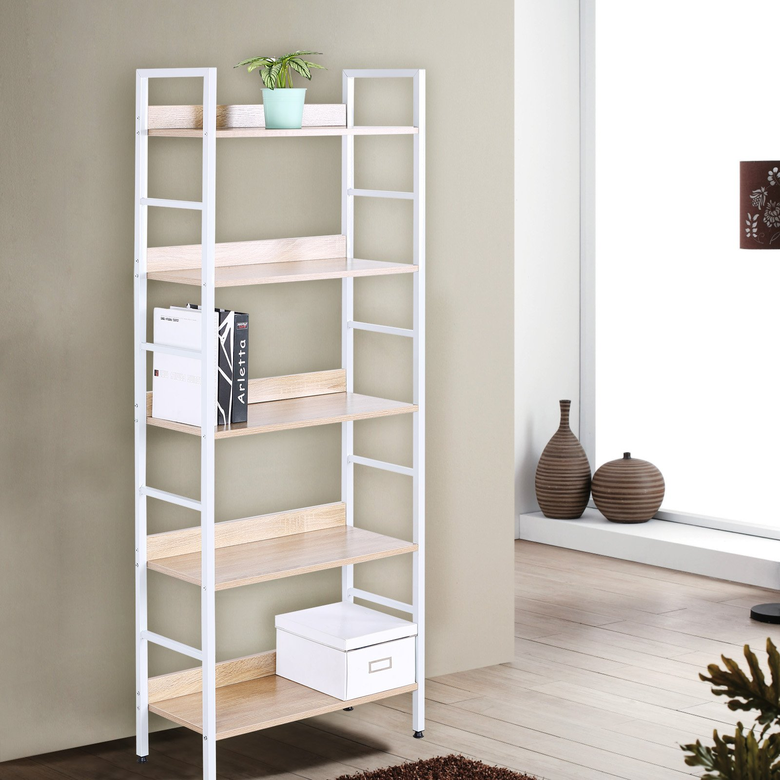 WOLTU Wood Bookcases and Book Shelves 5 Shelf White Beautiful Bookcase Metal Bookshelf Books Display Rack Tall