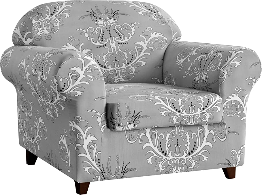 Subrtex Sofa Slipcovers Spandex Stretch Printed Floral Couch Sofa Covers 2-Piece Spandex Washable Furniture Protector for Sofa Home Decor (Gray, Chair)