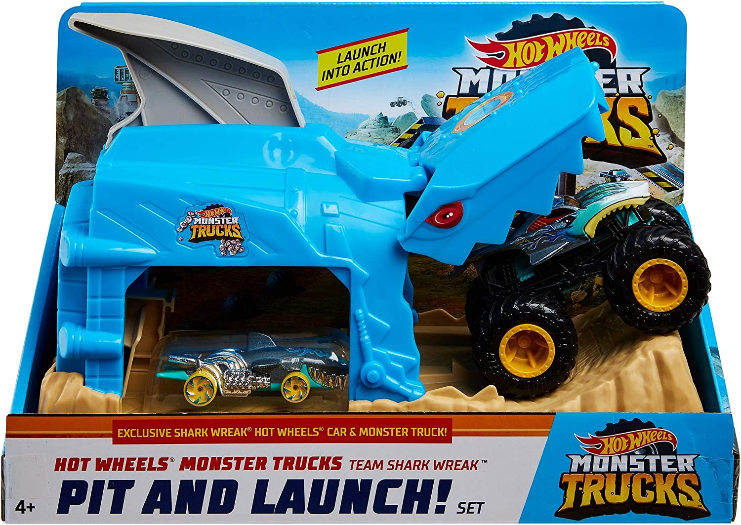Amazon Com Hot Wheels Monster Truck Pit Launch Play Sets With A Monster Truck And A 1 64 Car Team Shark Wreak Multi Model Gky03 Toys Games