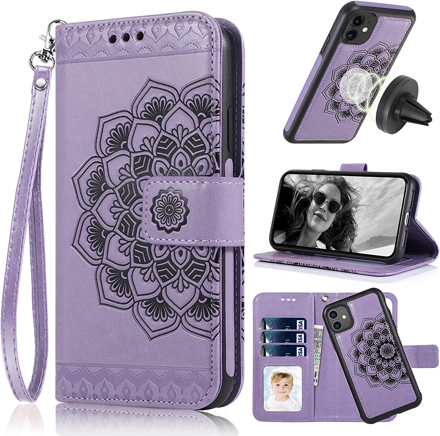 CASEOWL iPhone 11 Case, iPhone 11 Wallet Case 2 in 1 Detachable Slim Fit Car Mount,with Card Holder,Kick Stand,RFID Protection,Strap,Mandala Embossed Leather Wallet Case for iPhone 11-6.1 inch,Purple