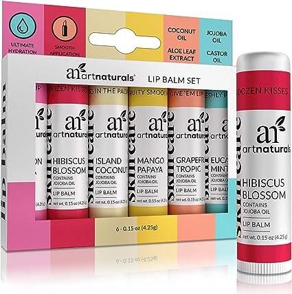 ArtNaturals Natural Lip Balm Beeswax - (6 x .15 Oz / 4.25g) - Gift Set of Assorted Flavors - Chapstick for Dry, Chapped & Cracked lips - Lip Repair with Aloe Vera, Coconut, Castor & Jojoba Oil best lip balms