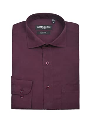 Cotton Cool Men's Slim Fit Solid Non-Iron Long Sleeve Dress Shirt - Dark Purple, L