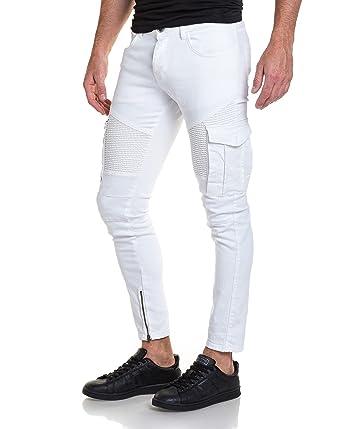 15cbc9cbd797 BLZ Jeans - Jean Blanc Cargo nervuré avec Zips - Couleur  Blanc - Taille