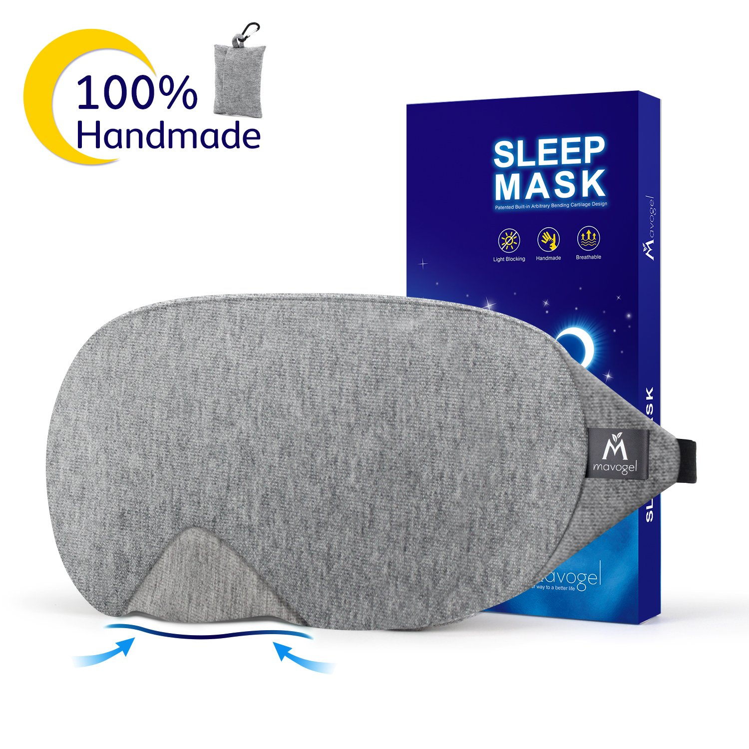 Mavogel Cotton Sleep Eye Mask - Updated Design Light Blocking Sleep Mask, Soft and Comfortable Night Eye Mask for Men Women, Eye Blinder for Travel/Sleeping/Shift Work, Includes Travel Pouch, Grey sleep masks Sleep masks for women – 5 best sleep masks for women on the market 81scG9t6hlL