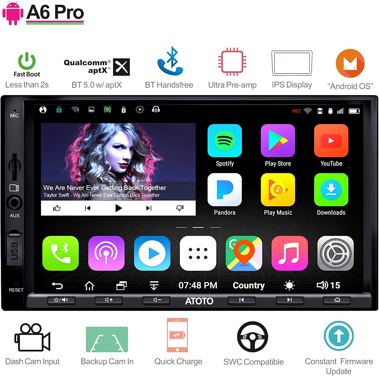 [Nuevo] ATOTO A6 Pro A6Y2721PRB Navegación para Audio/Video de automóvil con Doble DIN Android- 2 x Bluetooth con aptX - Teléfono de Carga/Ultra preamplificador -Autoradio, WiFi, Soporte 256G SD