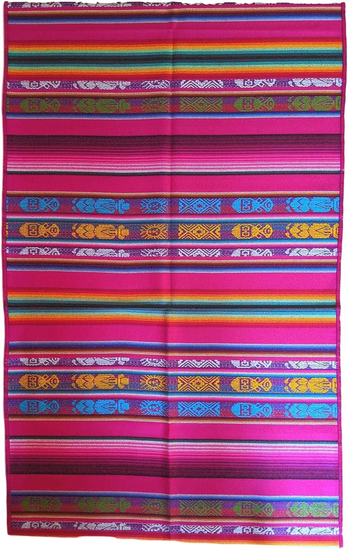 Equal Earth - Camino de mesa con diseño de Inca tejido en Ecuador, color rosa fucsia