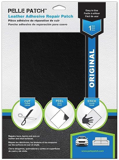 Pelle Patch Pièce Adhésive De Réparation De Cuir Et Vinyle 25 Couleurs Disponibles Original 20cm X 28cm Noir