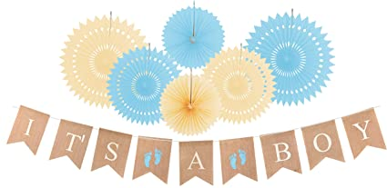 amazon com it s a boy banner burlap banner flag for baby shower