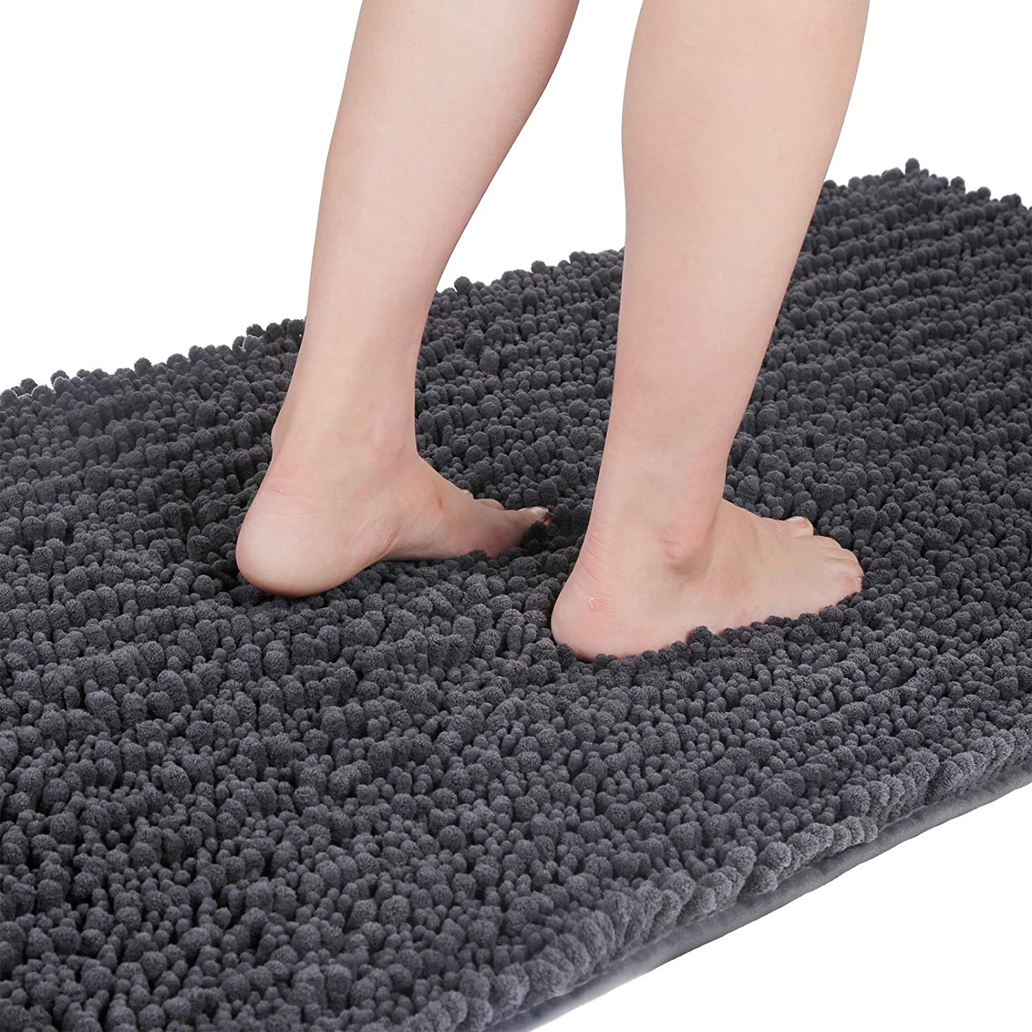 Yimobra Original Luxury Shaggy Bath Mat, 44.1 X 24 Inches, Super Absorbent Water, Non-Slip, Machine-Washable, Soft and Cozy, Thick Modern for Bathroom Bedroom, Dark Gray