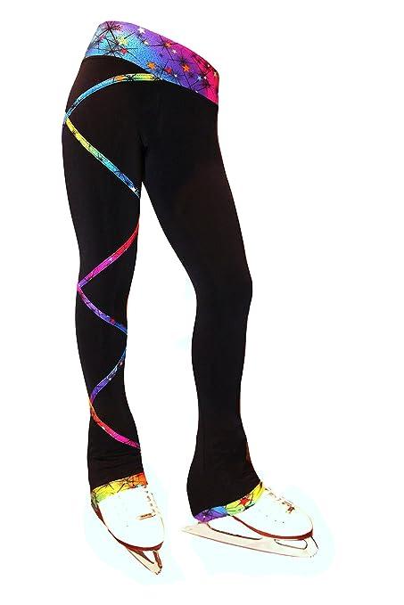 Amazon.com  Ice Fire Figure Skating Criss Cross Pants - Rainbow ... 1052d79c862