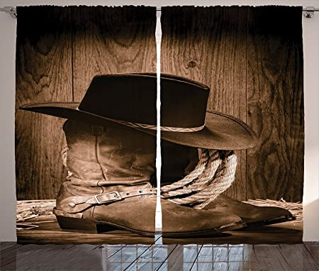 western decor curtains wild west themed cowboy hat and old ranching