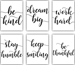 Inspirational Wall Art Décor For Office Or Home | Motivational & Positive Quotes & Sayings | Black & White | Six 8 x 10 Cute Prints Perfect Decorations For Any Room | Set 1