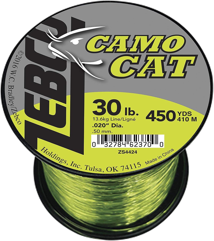 910 yd.014 Diameter Zebco BCAT15Q Zebco Big Cat Line Hi-VIS Yellow /& Low-Vis Moss Green 15 Lbs Tested