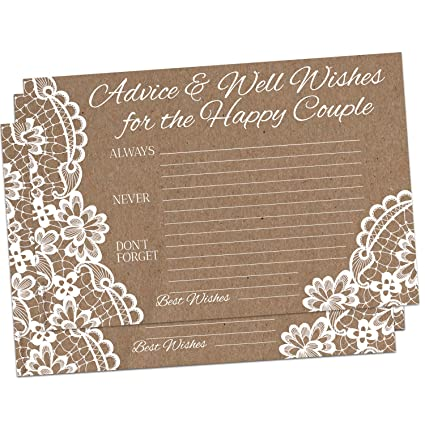 50 kraft brown rustic wedding advice cards for advice well wishes for the happy couple