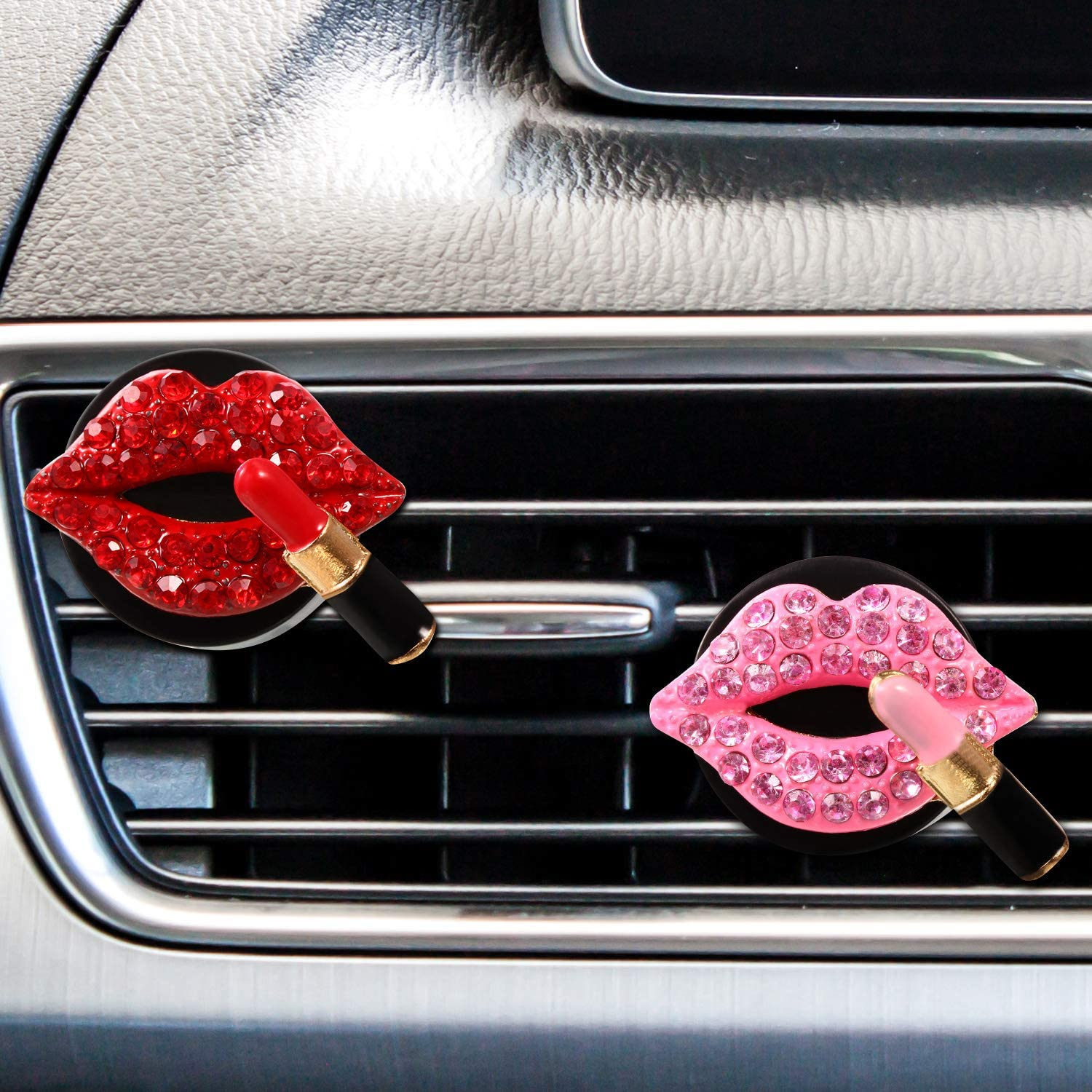 4 Pieces Car Air Vent Decoration Bling Car Interior Decoration Rhinestone Lipstick Car Air Freshener Clip with Fragrance Cotton Pads (Red, Pink)