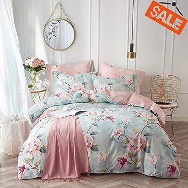 VClife Kid Bedding Sets Cotton Duvet Cover Sets Blue Pink Floral Garden Pattern Bedding Twin 1 Duvet Cover 2 Pillow Cases Boho Hotel Bedding Sets Twin for Girl Woman Teens Zipper Closure Bedding