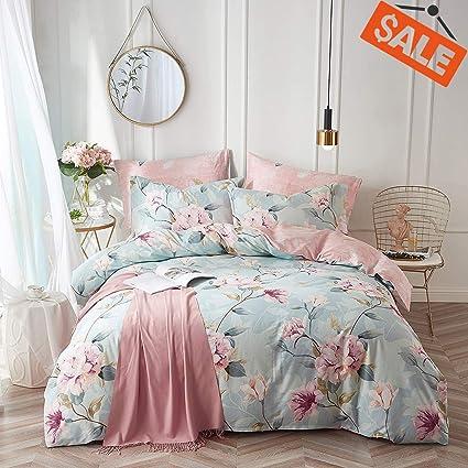 9f8c6fcdd8 VClife Cotton Bedding Duvet Cover Sets Full Botanical Flower Branch Pattern  Queen Comforter Quilt Cover Sets