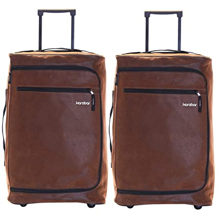 ff29745fe Karabar Cabin Carry-on Hand Luggage Suitcase Bag Super Lightweight 55 cm  2.3 kg 40 litres with 2 Wheels - Set of 2 Bags, Hudson Brown: Amazon.co.uk:  Luggage