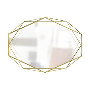 Umbra Prisma Wall Mirror - Modern Geometric Shaped Oval Mirror for Living Room, Bedroom, Bathroom, Dining Room – This Wall Mirrors Decorative Design Can Be Mounted Vertically or Horizontally, Brass