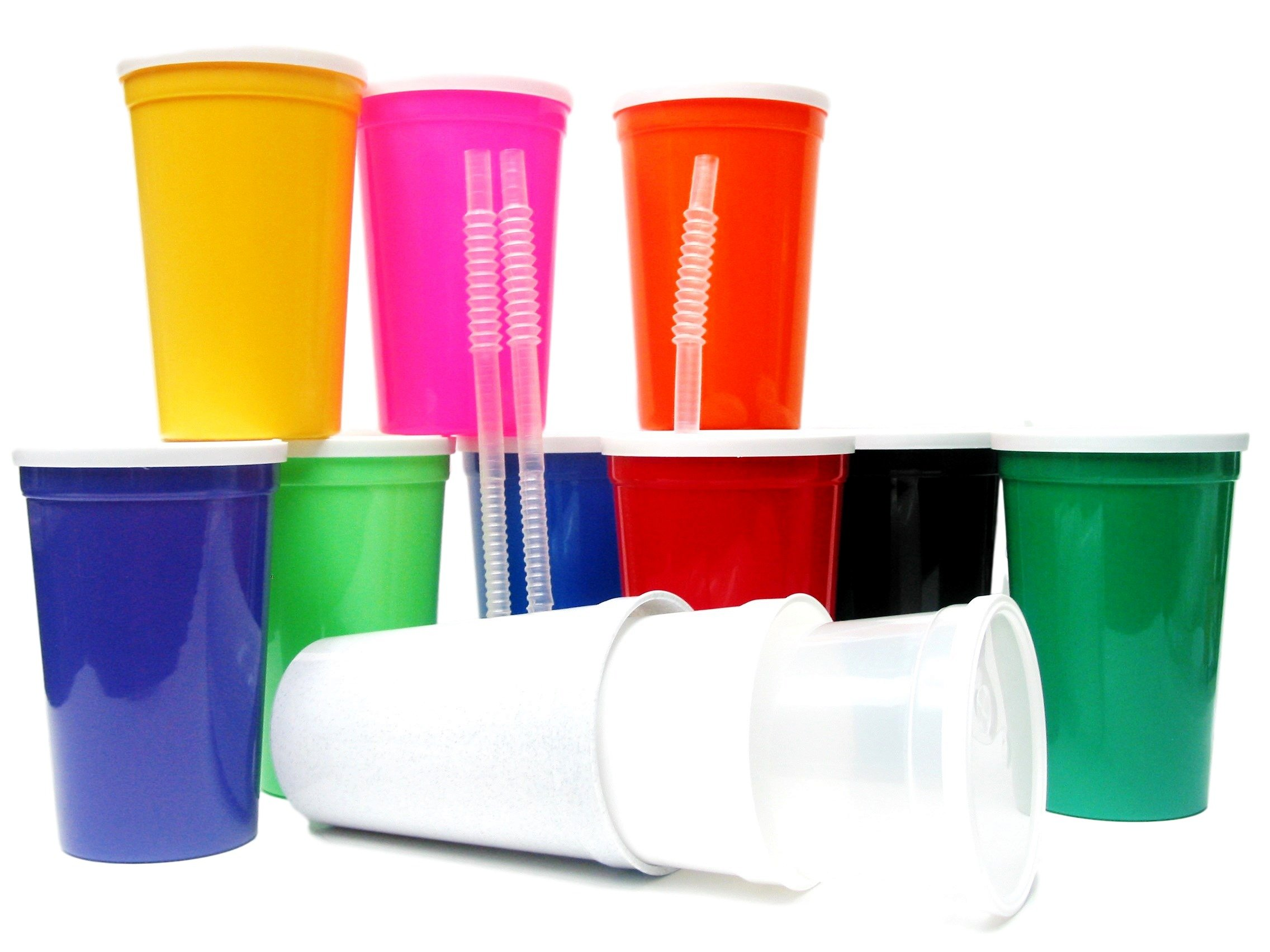 Talisman,Large 20 Ounce Plastic Drinking Glasses, Lids and Straws, 14 Pack, Mix of Colors