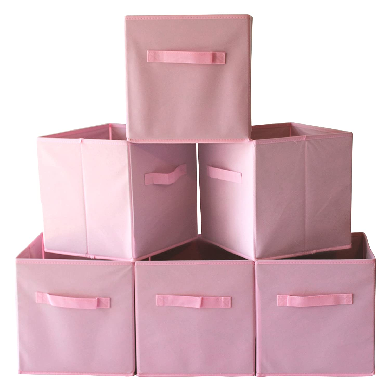 Fabric Cube Storage Bins (Set of 6) Foldable Baskets with Handles - Various Colors Available