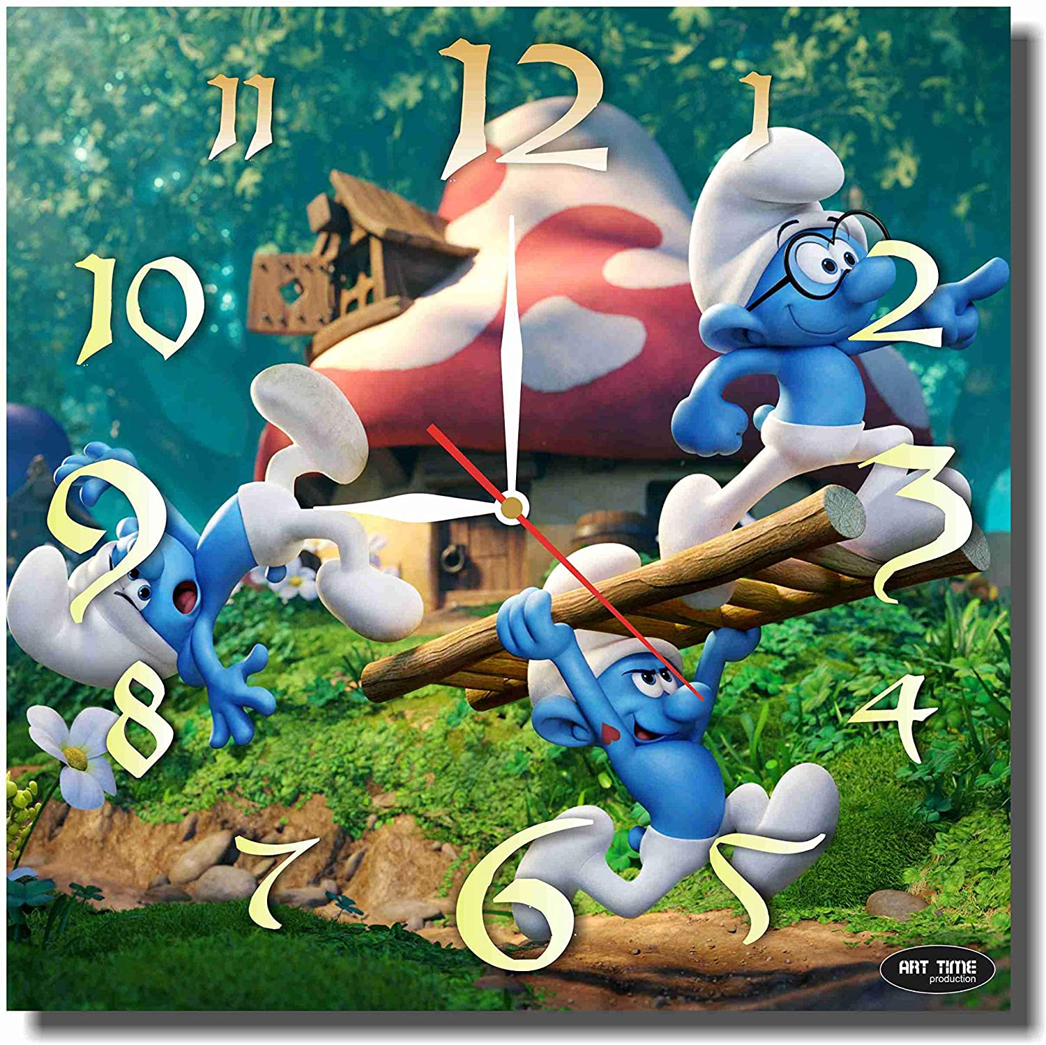 Art time production The Smurfs 11.8'' Handmade Unique Wall Clock - Get Unique décor for Home or Office – Best Gift Ideas for Kids, Friends, Parents