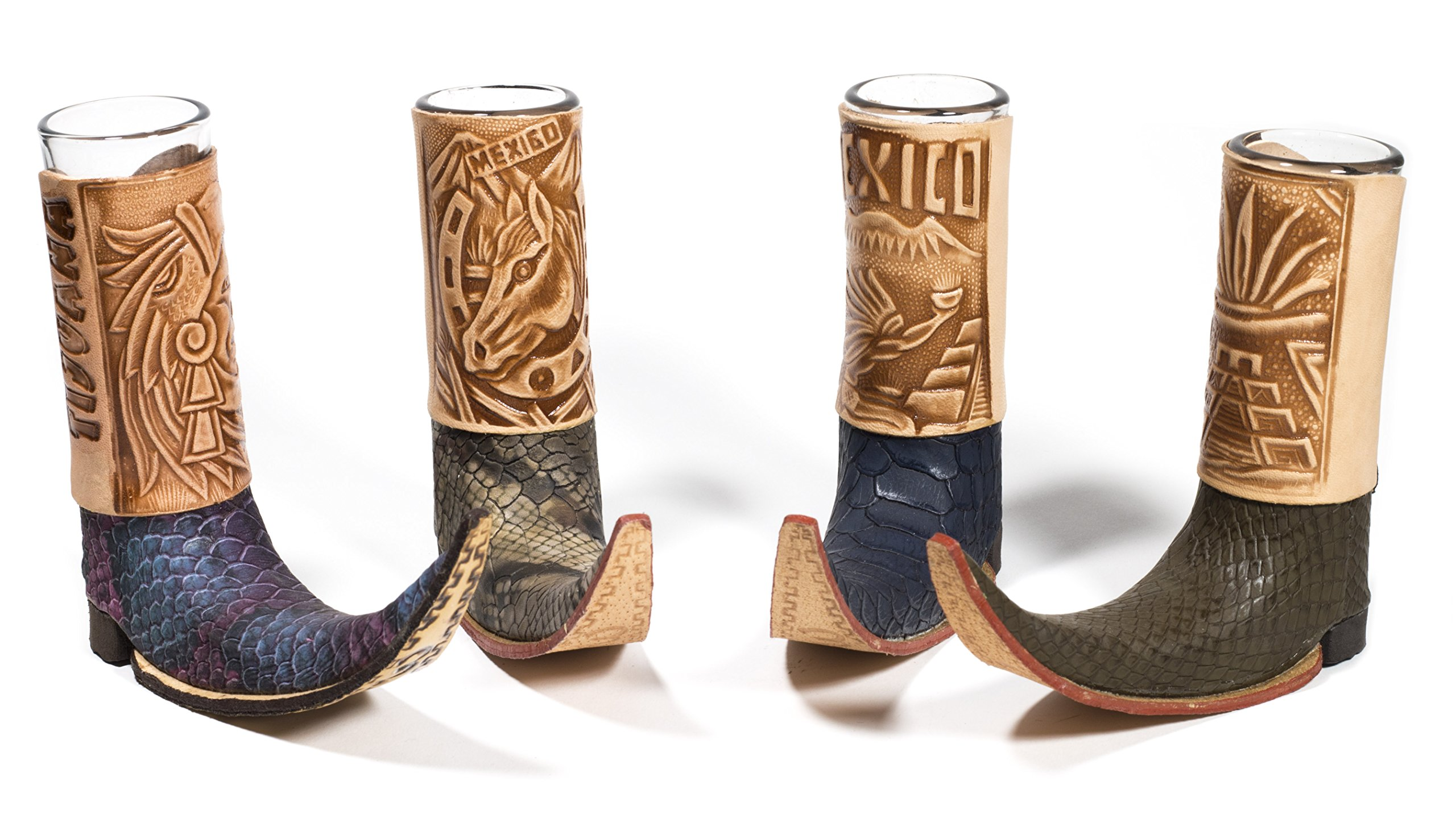 ( 3 Pack ) Mexican Leather Mini Boot Tequila Shot - Original Artisan Bota Tribalera para Tequila (Assorted Colors)
