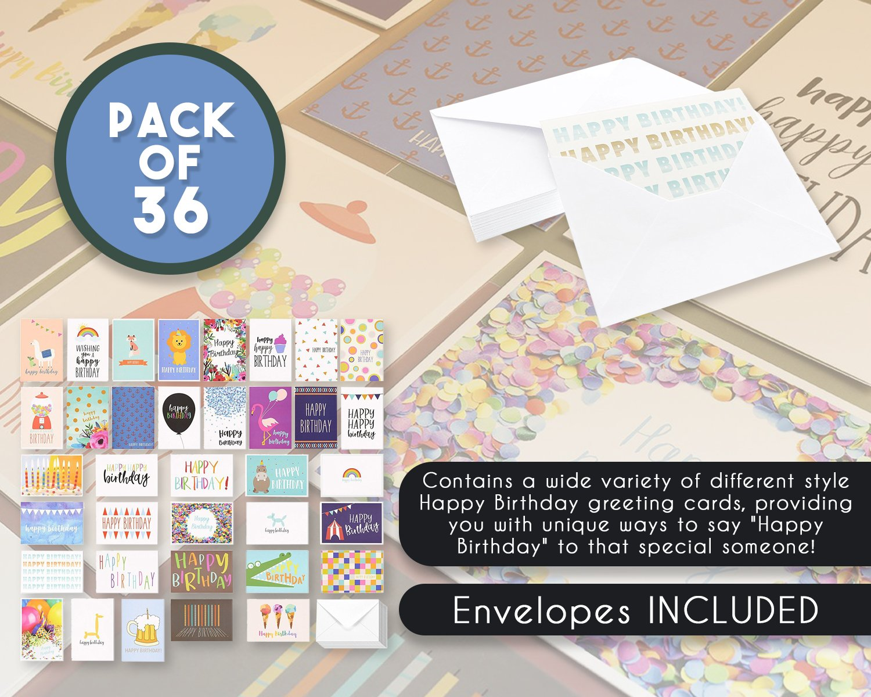 Amazon Birthday Card 36 Pack Birthday Cards Box Set Happy